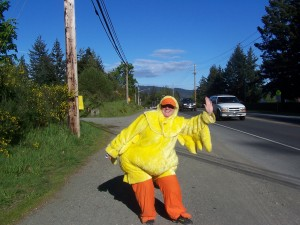Duck Debbie dons her finest feathers. Photo from the Sooke Harbourside Lions website.