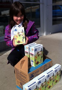 Bethany McNaught is selling her Girl Guide cookies in front of Shoppers Drug Mart today. Photo by Britt Santowski.