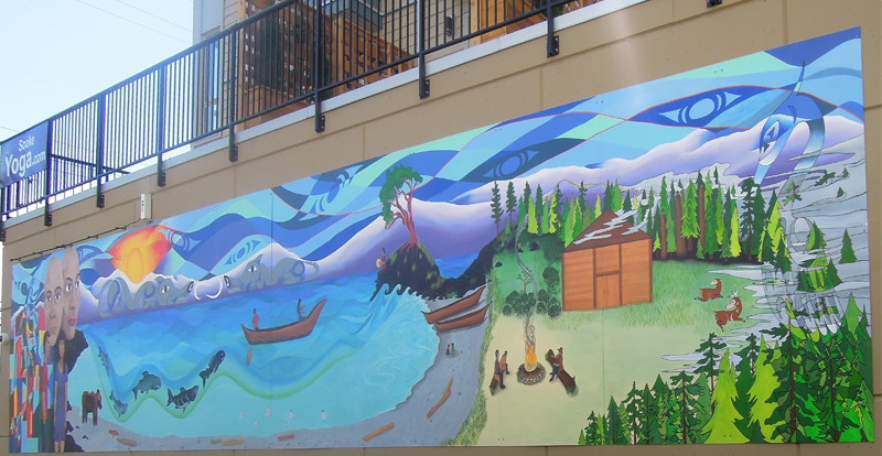 "Article: ""Hope Centre's ""Coming Home"" mural created by four Aboriginal Artists, include one from the T'Sou-ke Nation"""