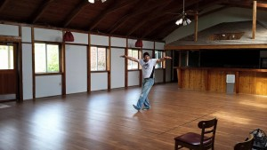 """Photo from Facebook, of Jerry doing his """"Happy Dance"""" in what will be the future Sparring Ring."""