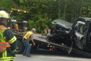 "Sooke's Fire Chief Steven Sorensen posted this picture at around 7:15, and posted, ""Last vehicle being picked up by tow truck. #sooke Road will open in a few minutes"""
