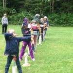 Girl Guides in Sooke practicing their archery
