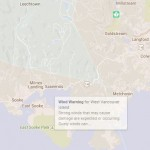 Weather map of the wind warning for Sooke