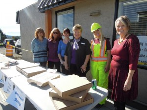 Local businesses chipped in together to buy pizza for the roundabout construction crew, to say Thank You for all their help over the last few months. Sooke Fax and Copy Centre, Westcoast Design, Wood Travel and Cruise, Arlene, Amber and Laura, and Sooke 2 for 1 Pizza all contributed. -SPN photo