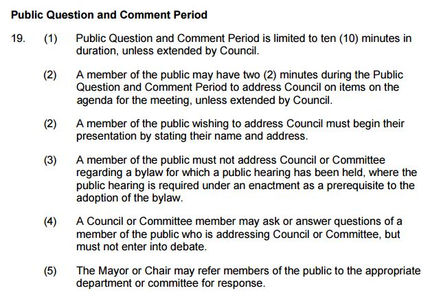 Council Bylaw section 19