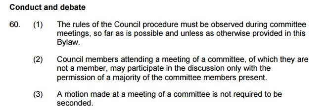 Council Bylaw section 60