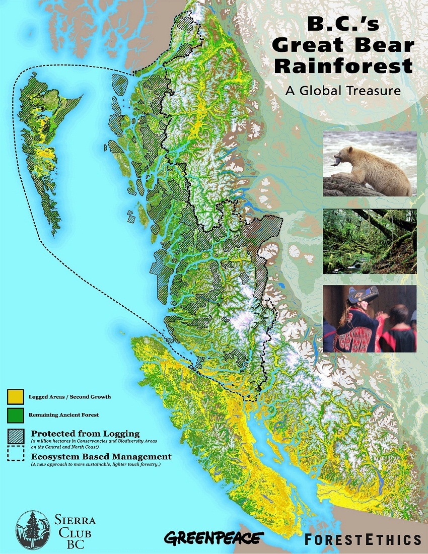 Great Bear Rainforest Map Great Bear Rainforest map from SaveTheGreatBear dot | Sooke