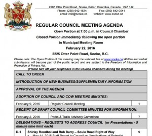 Regular Council Meeting Feb 22