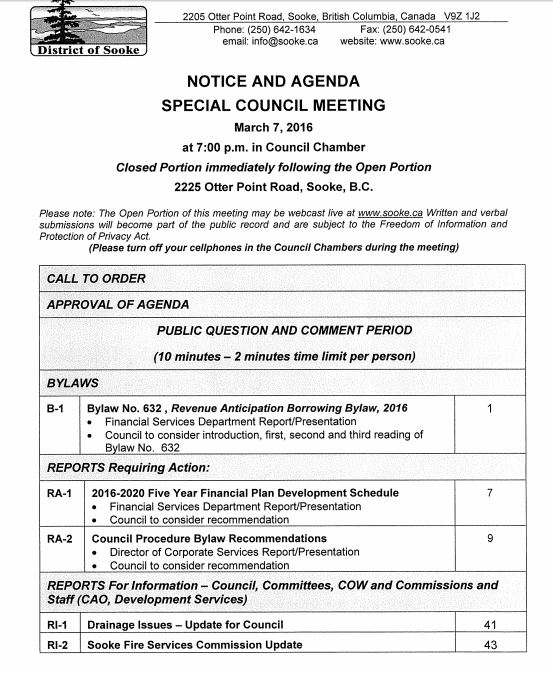 Agenda Sooke Special Council Meeting