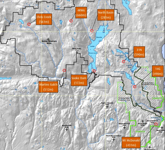 Fire weather station locations Sooke River