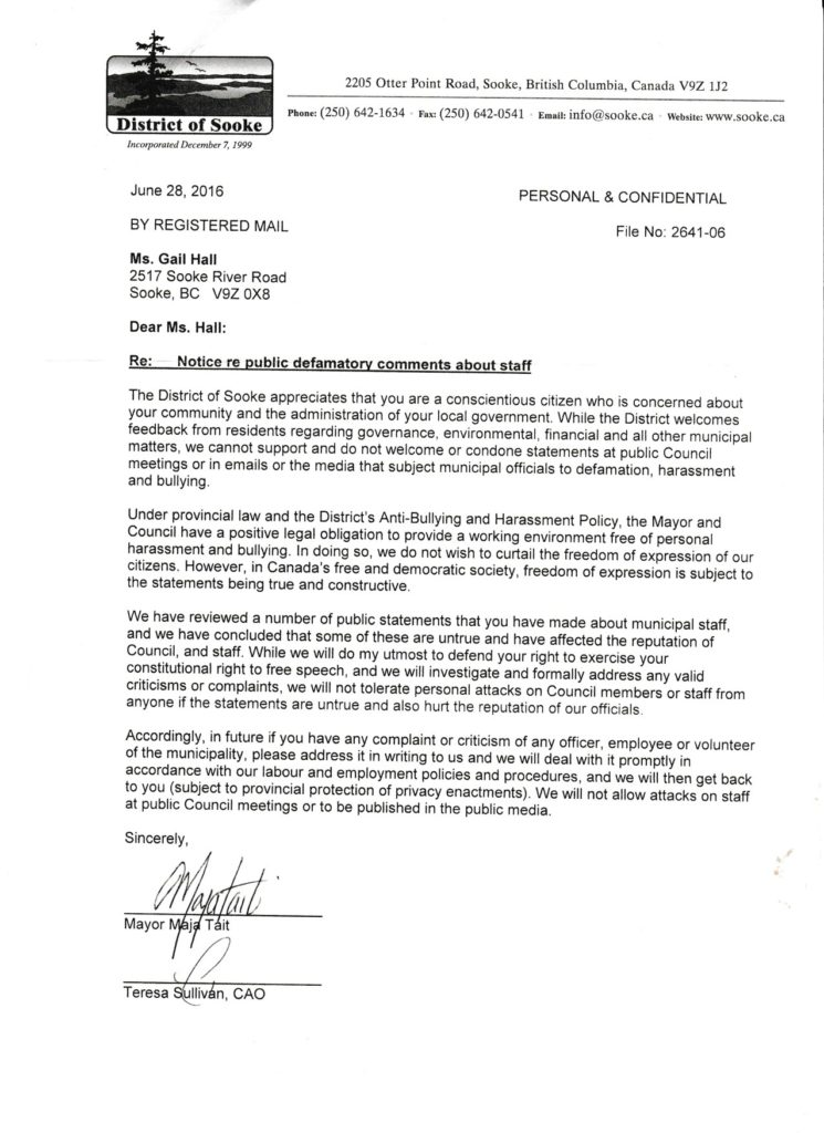 Sooke letter to Gail Hall