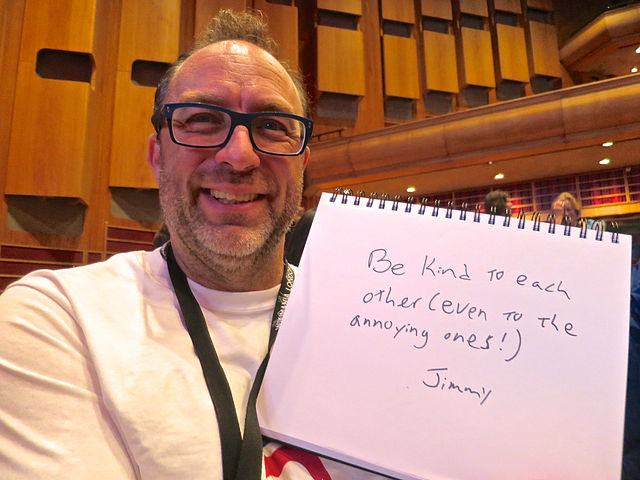 Wikipedia co-founder Jimmy Wales invites community members to 'be kind to each other' at Wikimania 2014 in London.