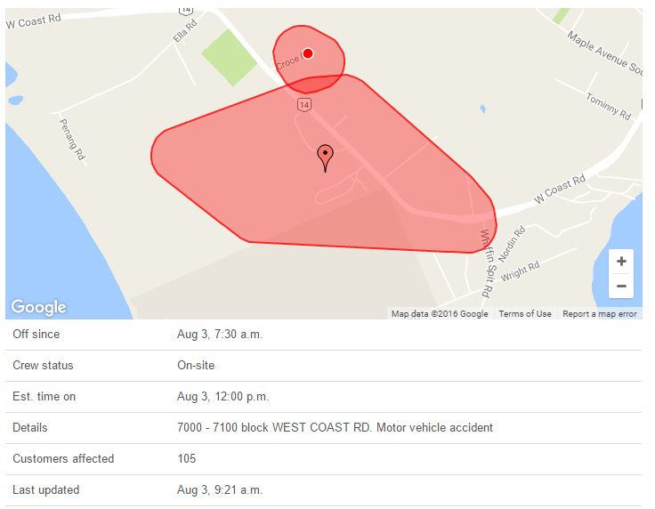 Aug 3 2016 power outage
