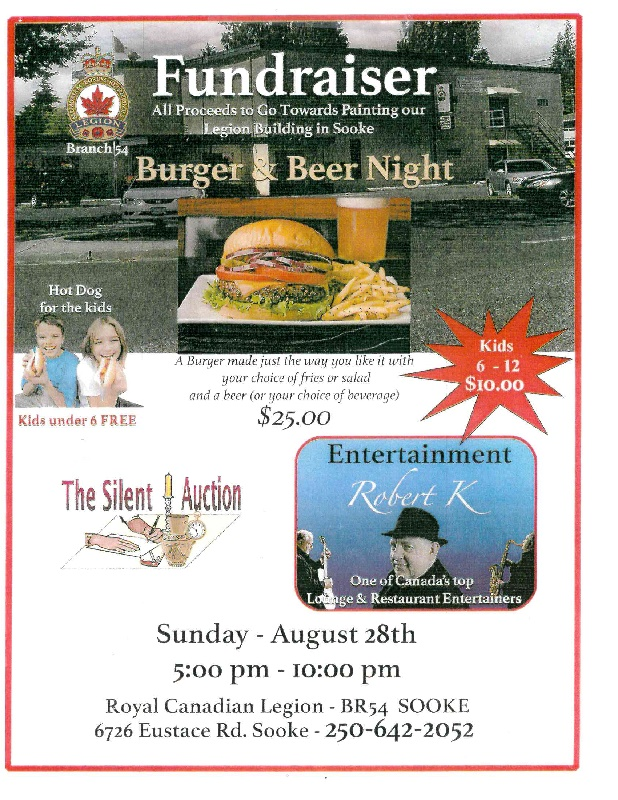 Fund Raiser Beer and Burger Night 28 August