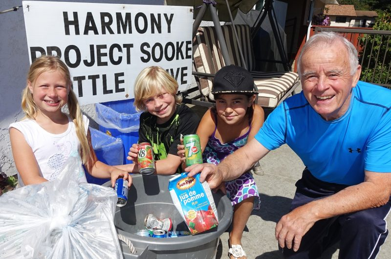 Shae-noelle Ottesen, Ryan Ottesen, Sonya Cook and Harmony Project Sooke's Treasurer, Paul Martin