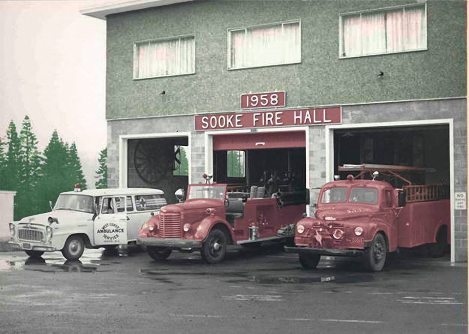 Sooke's old fire departement photo retouched by Derek Lewers
