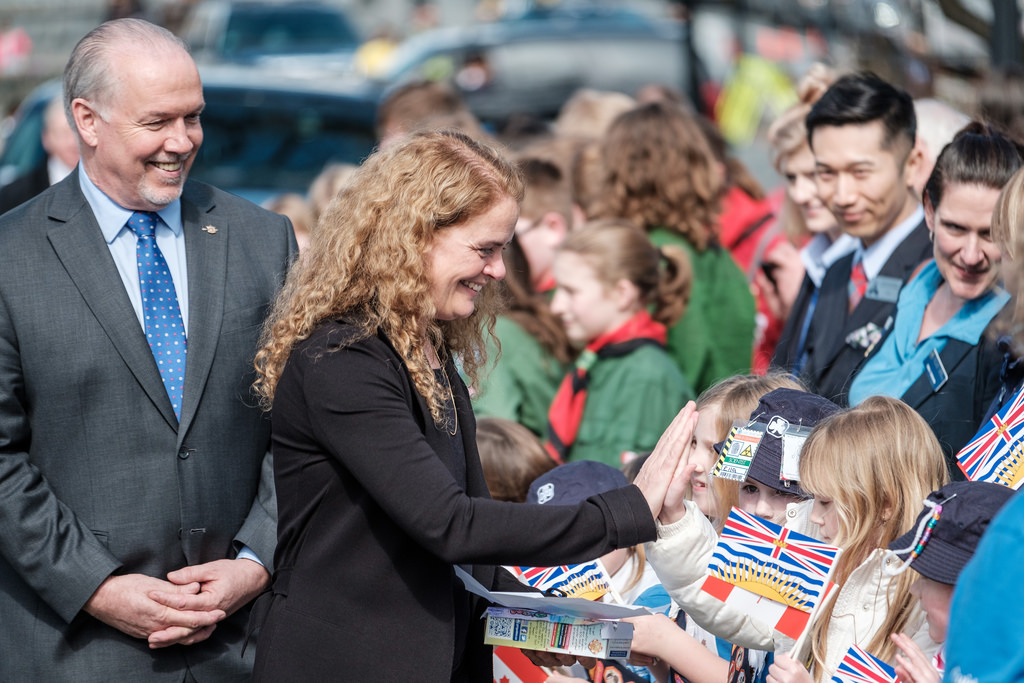 Flickr photo, John Horgan (Sooke MLA and BC Premier) with Julie Payette in Victoria