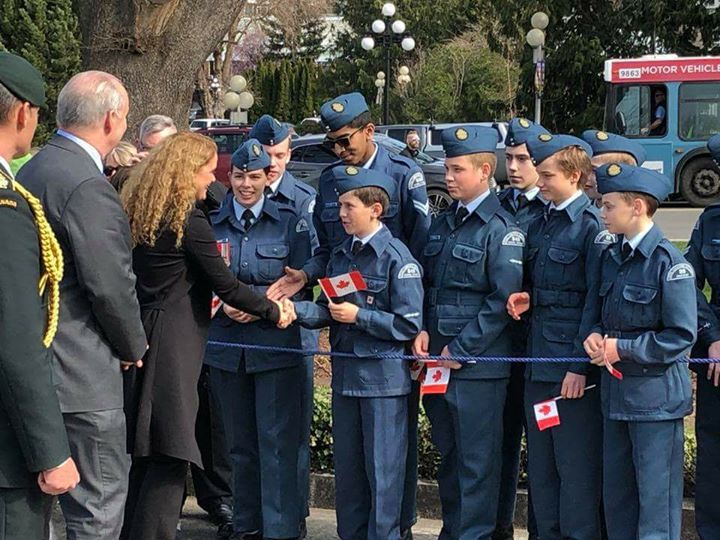 LAC Wrigley from Sooke and 848 cadet squadron from Langford shakes the GG's hand