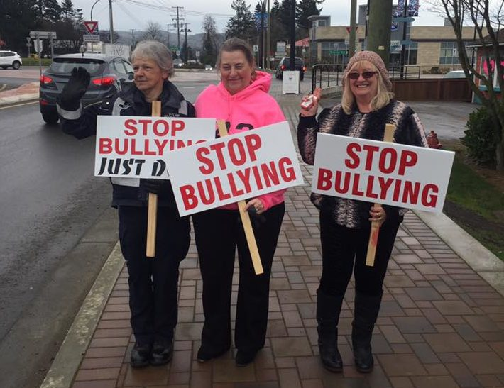 Medea Mills, Brenda Parkinson and Sandy Jarvis cold but still smiling on Pink Shirt Day