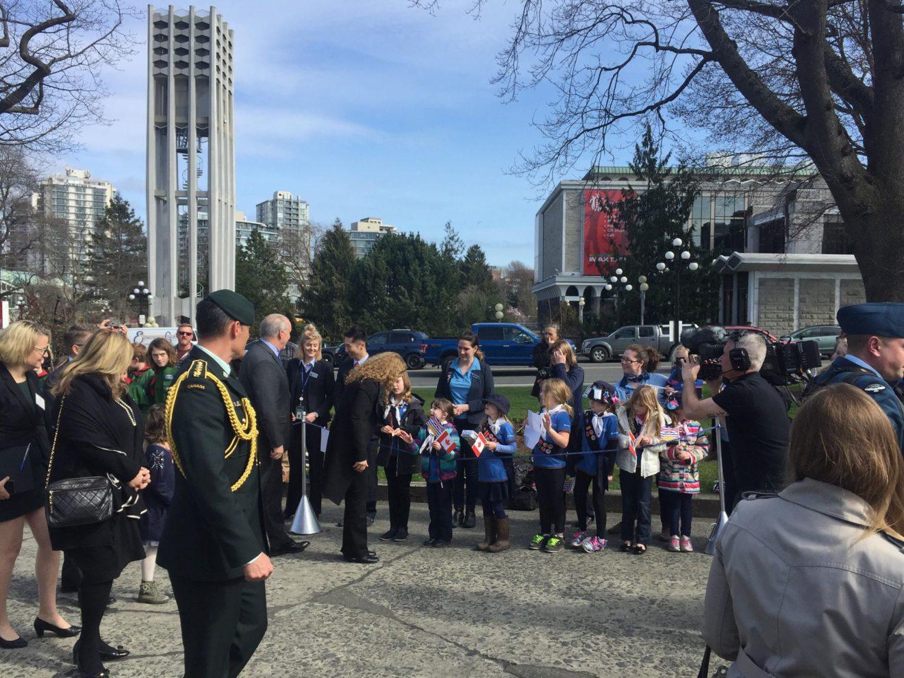 the 1st Sooke Sparks and 1st John Muir Brownies were invited to join other South Vancouver Island Girl Guides and Scouts at the Legislature today