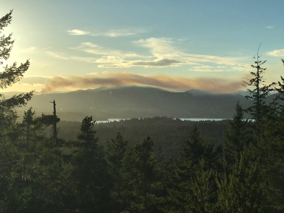 Smoke from the hills behind Sooke an hour later