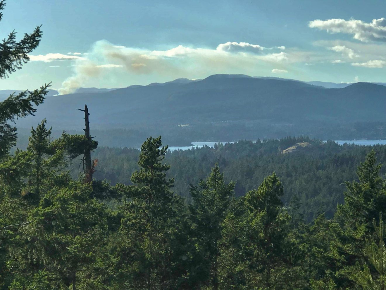 Smoke from the hills behind Sooke