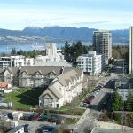 A northwest facing view of UBC's Point Grey campus taken from the Buchanan Tower at 1873 East Mall road in Vancouver, BC, Canada. The Strait of Georgia can be seen in the background. By Leoboudv, CC BY-SA 3.0, Wikimedia.org