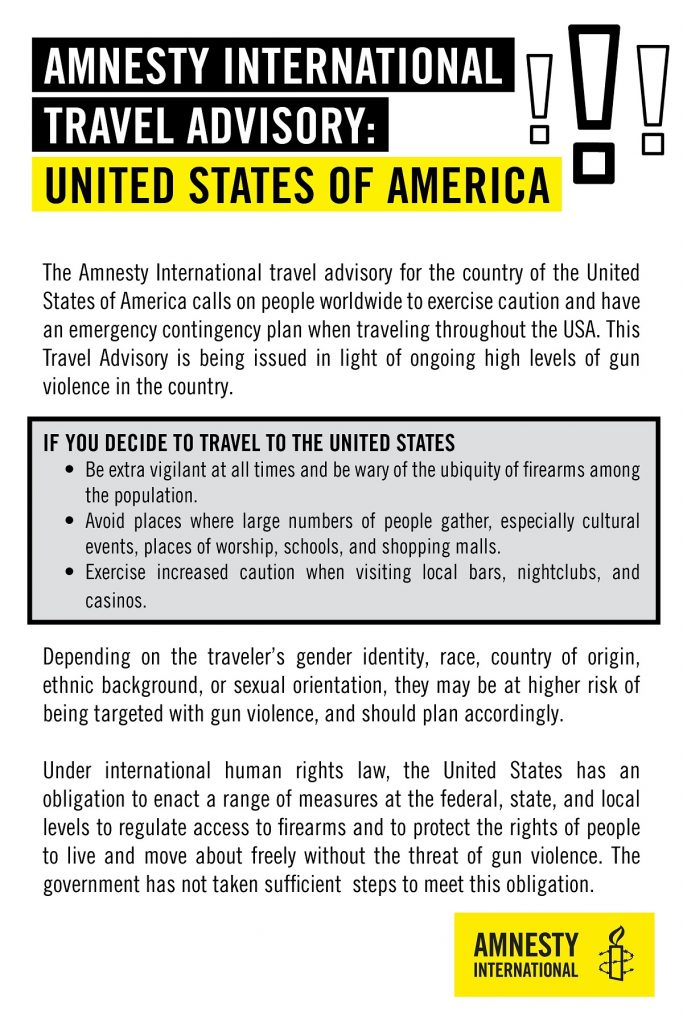 Amnesty International issues travel warning for the U S  due